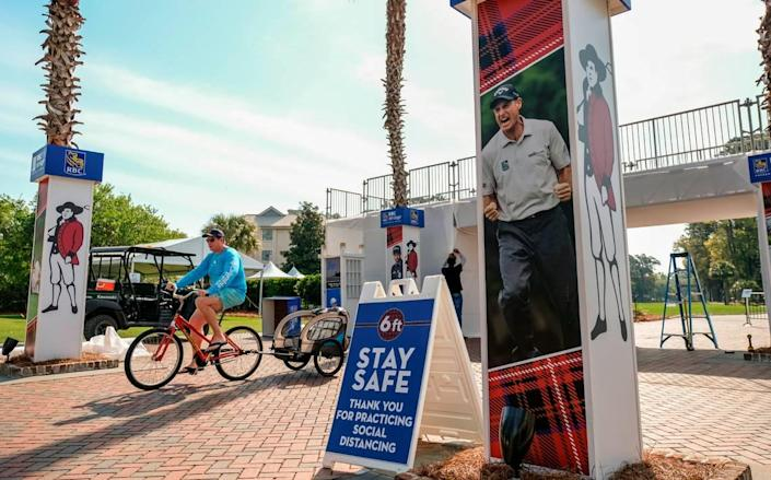Along with a reduction in crowd size, signage informs patrons on Thursday, April 8, 2021 to socially distance for this years RBC Heritage Presented by Boeing at Harbour Town Golf Links in Sea Pines on Hilton Head Island.