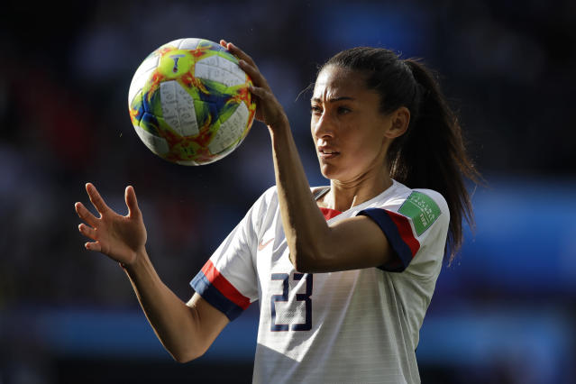 United States' Christen Press catches the ball during the Women's World Cup Group F soccer match between United States and Chile at Parc des Princes in Paris, France, Sunday, June 16, 2019. (AP Photo/Alessandra Tarantino)