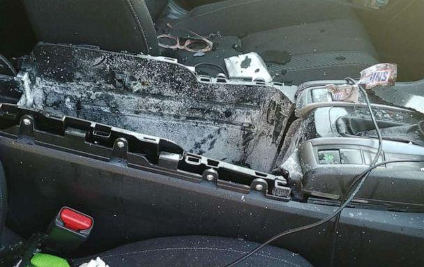 PHOTO: damage to car from exploding dry shampoo can (Christine Bader Debrecht/Facebook)