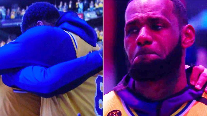 Seen here, LeBron James and his Lakers teammates choked back tears during tributes to Kobe Bryant.