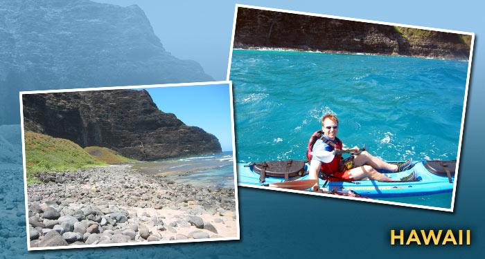 """Next to Florida, Hawaii is America's second most popular destination. Obviously, there are plenty of places to check out, but my favorite spot is the spectacular Napali Coast, the most incredible location for sea kayaking. If you're prone to sea sickness, you may want to think about hiking instead, as the seas can get pretty big, but with the right guide this is a journey you will never forget. This is your chance to see Hawaii as it once was with 4,000-foot cliffs that rise steeply from the rugged coastline. I love this kind of trip because of the sense of journey and the tremendous sense of accomplishment that comes with working for your dinner."""