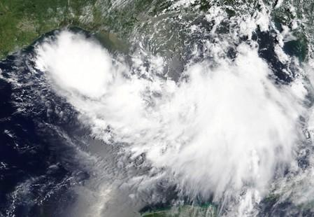 Tropical Storm Barry is shown in the Gulf of Mexico approaching the coast of Louisiana