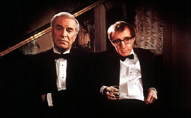 "<p>The only actor nominated for an Academy Award for <a href=""https://www.yahoo.com/movies/tagged/woody-allen"" data-ylk=""slk:Woody Allen"" class=""link rapid-noclick-resp"">Woody Allen</a>'s acclaimed drama, Landau (pictured, left, with Allen) played Judah Rosenthal, a respected doctor who takes a dark turn when his mistress (Anjelica Huston) threatens to reveal herself to his family. (Photo: Everett) </p>"
