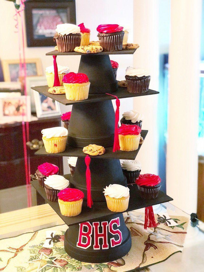 "<p>Cupcakes at a graduation party are a must-have. When they're presented on a graduation cap-styled stand with school colors, they look even better. </p><p><strong>Get the tutorial at <a href=""https://creativelybeth.com/create-a-diy-graduation-cap-cupcake-stand-and-cake-plate/"" rel=""nofollow noopener"" target=""_blank"" data-ylk=""slk:Creatively Beth"" class=""link rapid-noclick-resp"">Creatively Beth</a>.</strong></p><p><a class=""link rapid-noclick-resp"" href=""https://go.redirectingat.com?id=74968X1596630&url=https%3A%2F%2Fwww.walmart.com%2Fip%2FDMC-6-Strand-Embroidery-Floss-Cotton-Thread-Bulk-321-Christmas-Red-12-Skeins%2F574601006&sref=https%3A%2F%2Fwww.thepioneerwoman.com%2Fhome-lifestyle%2Fentertaining%2Fg36014713%2Fgraduation-party-ideas%2F"" rel=""nofollow noopener"" target=""_blank"" data-ylk=""slk:SHOP EMBROIDERY FLOSS"">SHOP EMBROIDERY FLOSS</a></p>"