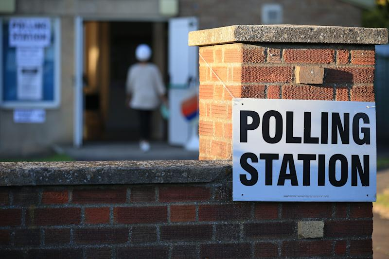 The Christ the Carpenter church Hall polling station is seen in Peterborough, England on June 6, 2019. - A local by-election was triggered when Peterborough's former MP Fiona Onasanya was sacked by her constituents in the first successful re-call petition prompting a by-election. (Photo by Lindsey Parnaby / AFP) (Photo credit should read LINDSEY PARNABY/AFP via Getty Images)