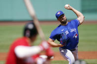 Toronto Blue Jays starting pitcher Robbie Ray delivers during the first inning of a baseball game against the Boston Red Sox at Fenway Park, Wednesday, July 28, 2021, in Boston. (AP Photo/Charles Krupa)