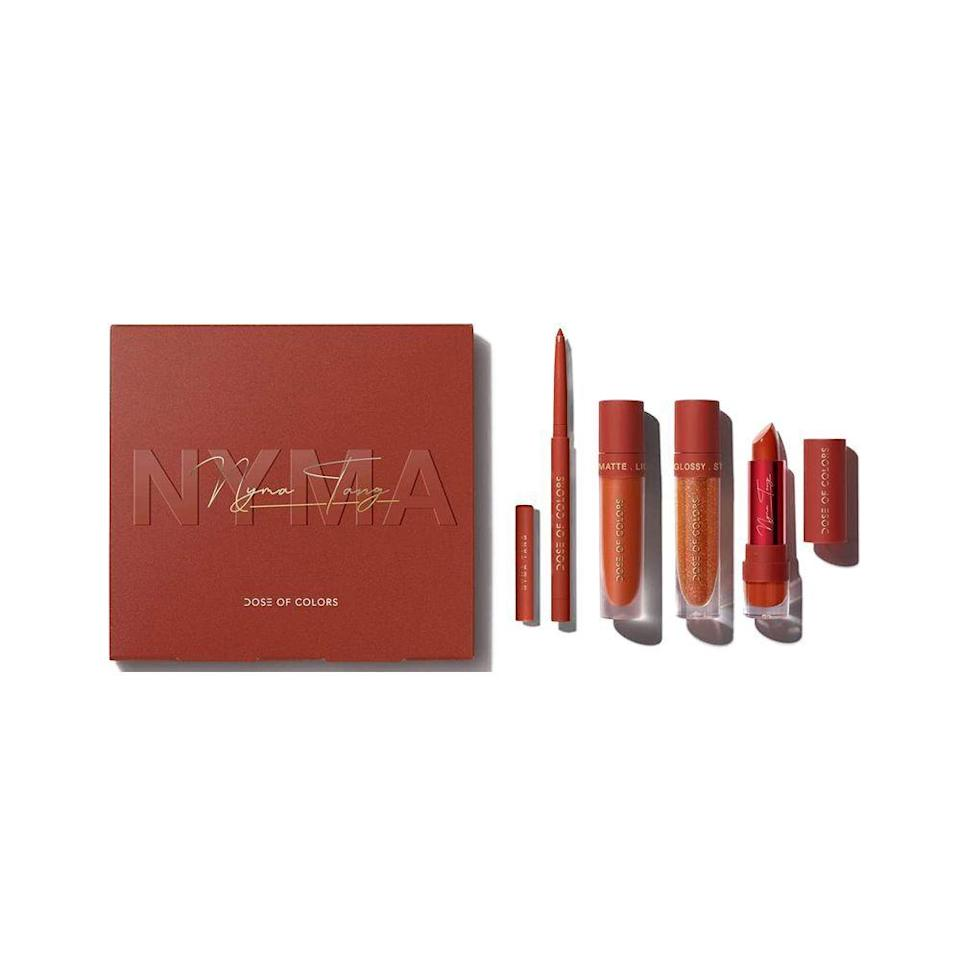 """<p><strong>Dose</strong></p><p>doseofcolors.com</p><p><strong>$49.00</strong></p><p><a href=""""https://doseofcolors.com/products/nyma-coral-lip-set"""" rel=""""nofollow noopener"""" target=""""_blank"""" data-ylk=""""slk:Shop Now"""" class=""""link rapid-noclick-resp"""">Shop Now</a></p><p>If you can only bring one makeup product with you, make it a lipstick (or this sleek set).</p>"""