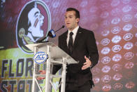 Florida State quarterback McKenzie Milton answers a question during an NCAA college football news conference at the Atlantic Coast Conference media days in Charlotte, N.C., Thursday, July 22, 2021. (AP Photo/Nell Redmond)