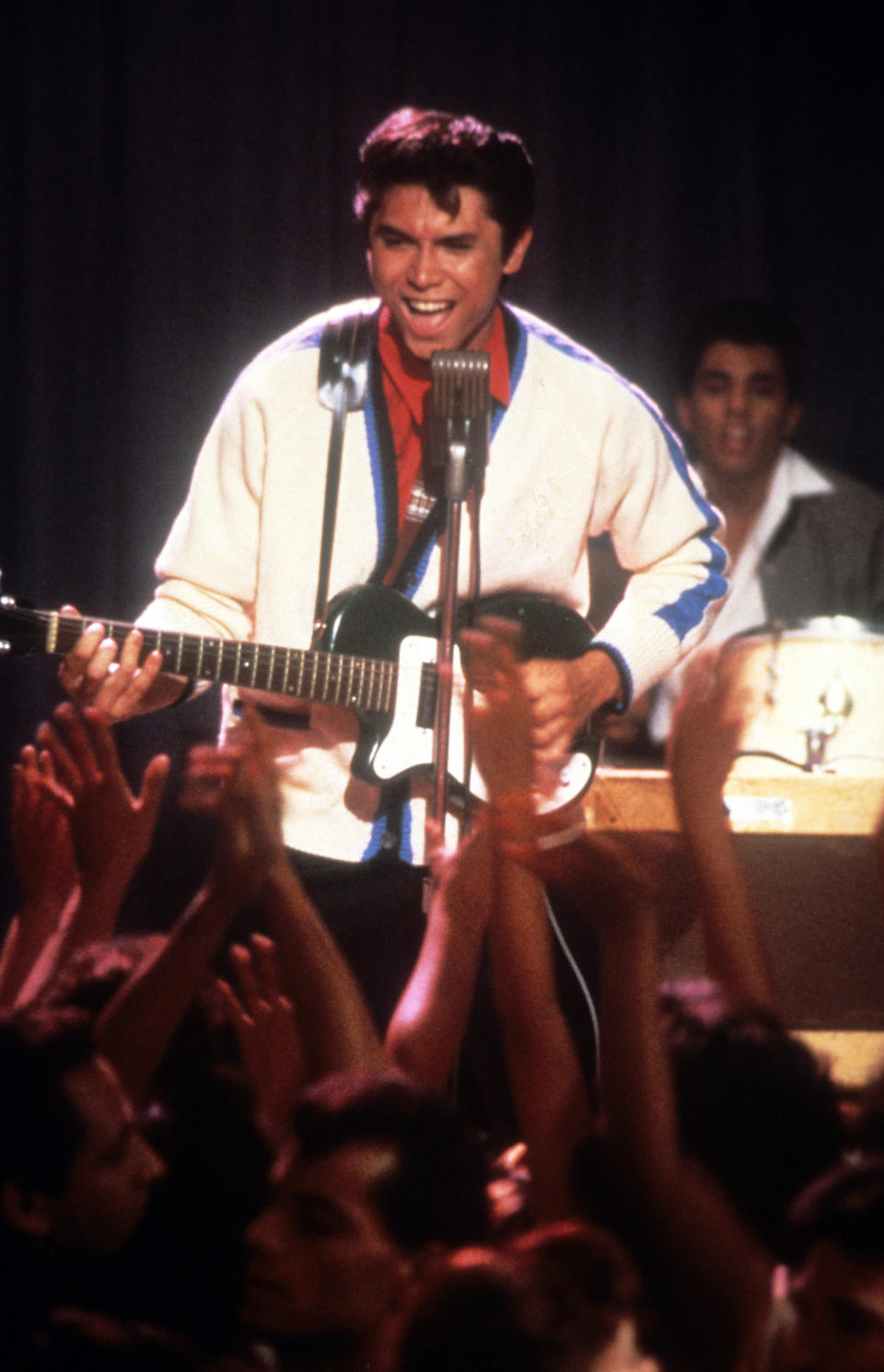 Lou Diamond Phillips performs in a scene from the film 'La Bamba', 1987. (Photo by Columbia Pictures/Getty Images)