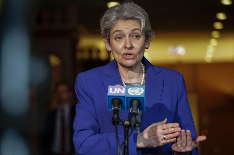 Irina Bokova speaks with reporters on the selection of the next UN Secretary-General, at UN headquarters in New York on April 12, 2016 (AFP Photo/Kena Betancur)