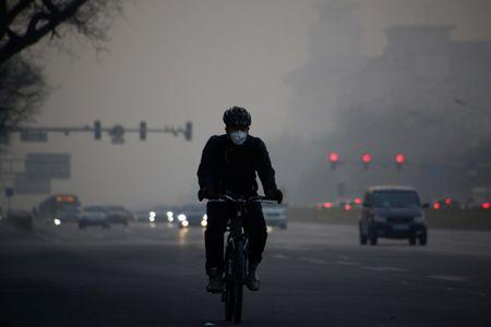 A cyclist wears a face mask on a polluted day in Beijing