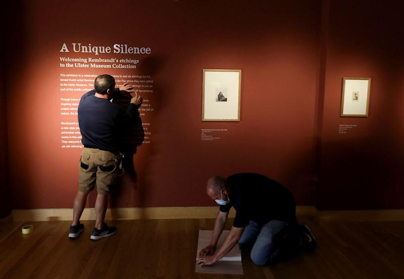 The Rembrandt etchings on display (Darren Kidd/PA)