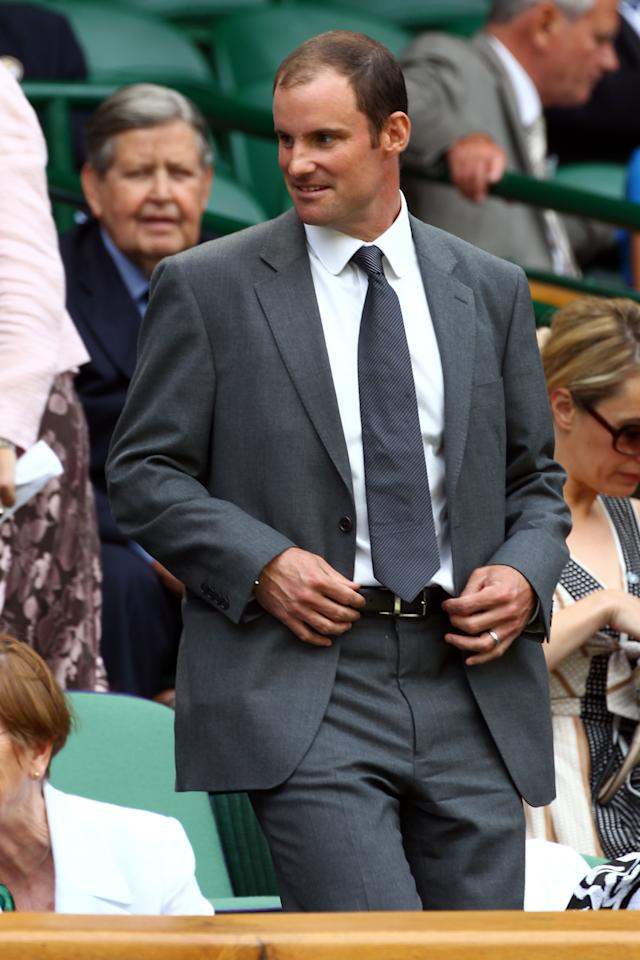 LONDON, ENGLAND - JUNE 30:  England Cricket captian Andrew Strauss attends the Ladies' Singles third round match Serena Williams of the USA and Jie Zheng of China on day six of the Wimbledon Lawn Tennis Championships at the All England Lawn Tennis and Croquet Club at Wimbledon on June 30, 2012 in London, England.  (Photo by Clive Brunskill/Getty Images)
