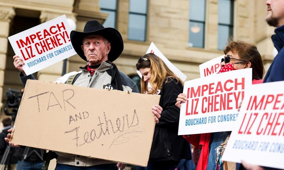 An anti-Cheney rally by pro-Trump supporters in Wyoming, Cheney's home state, in January.