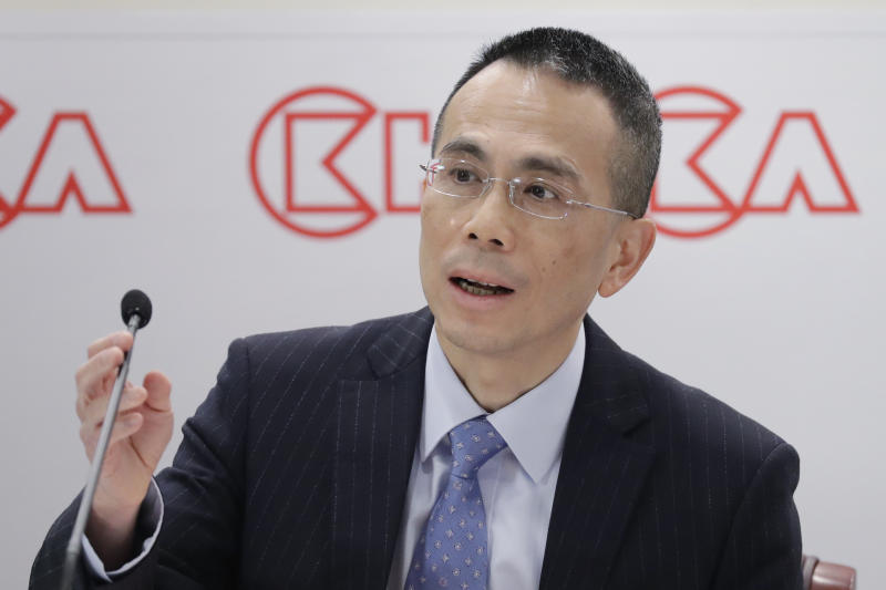CK Hutchison Holdings company co-managing director Victor Li, speaks during a press conference to announce the company's annual results in Hong Kong, Friday, March 16, 2018. Li Ka-shing, chairman of CK Hutchison Holdings company used the press conference to announce he is retiring as chairman of his conglomerate just shy of his 90th birthday. (AP Photo/Kin Cheung)