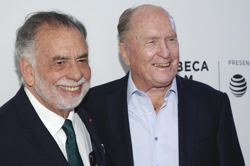 "Director Francis Ford Coppola, left, and actor Robert Duvall attend a screening of the ""40th Anniversary and World Premiere of Apocalypse Now Final Cut"" during the 2019 Tribeca Film Festival at the Beacon Theatre on Sunday, April 28, 2019, in New York. (Photo by Brent N. Clarke/Invision/AP)"""