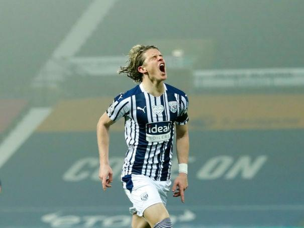 Conor Gallagher of West Bromwich Albion celebrates after scoring (Getty)