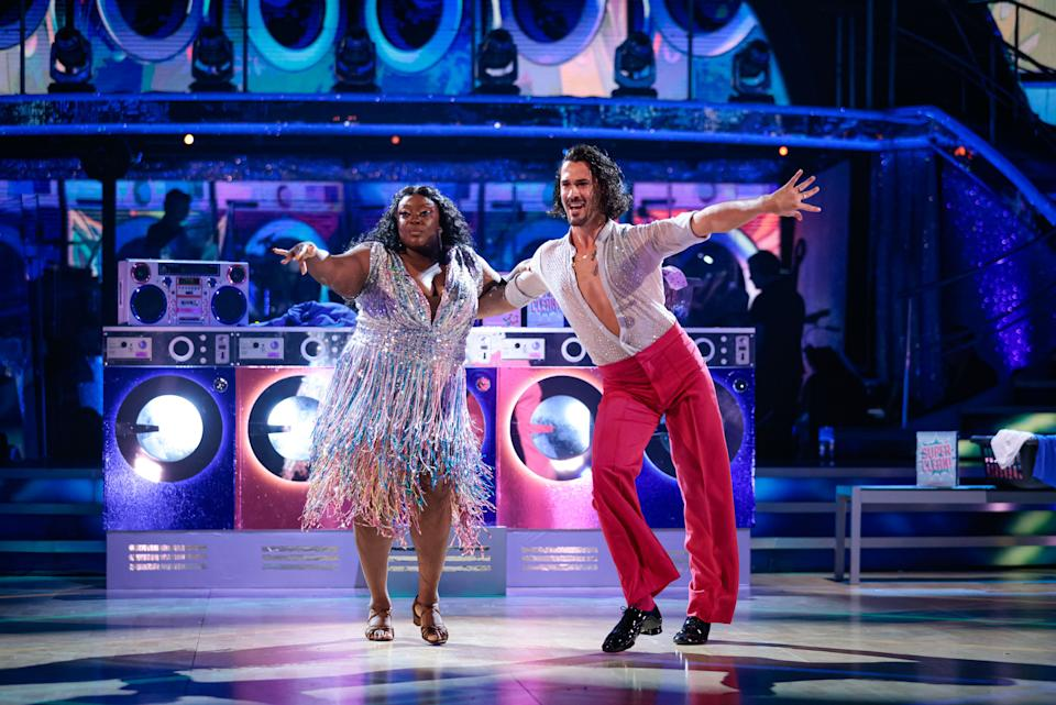 WARNING: Embargoed for publication until 21:00:01 on 02/10/2021 - Programme Name: Strictly Come Dancing 2021 - TX: 02/10/2021 - Episode: Strictly Come Dancing - TX2 LIVE SHOW (No. n/a) - Picture Shows: ++DRESS RUN++ **STRICTLY EMBARGOED FOR PUBLICATION UNTIL 21:00:01 02/10/2021** Judi Love, Graziano Di Prima - (C) BBC - Photographer: Guy Levy
