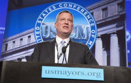 New York Mayor de Blasio delivers remarks at the plenary session of the U.S. Conference of Mayors