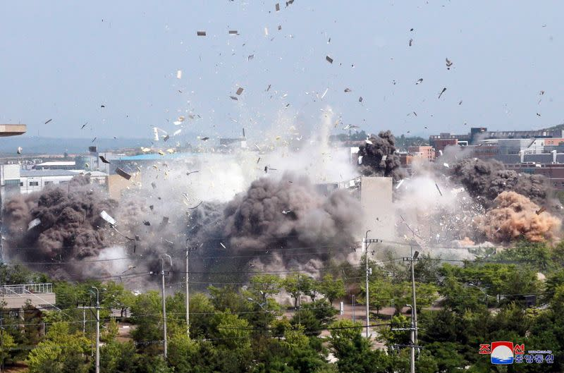 FILE PHOTO: A view of an explosion of a joint liaison office with South Korea in border town Kaesong