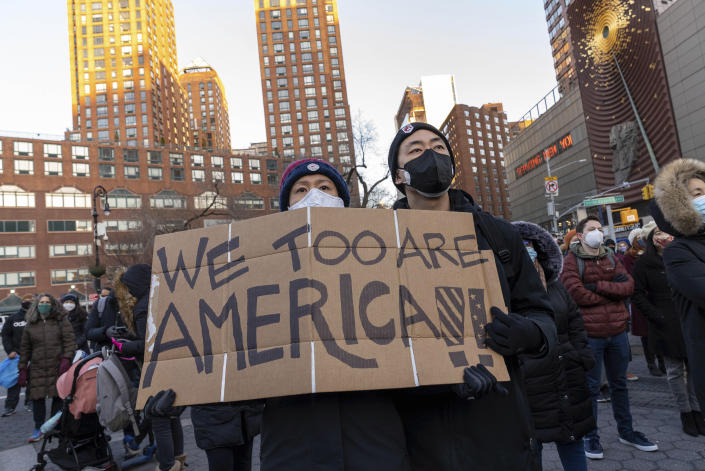 Photo by: John Nacion/STAR MAX/IPx 2021 3/19/21 Peace Vigil for victims of Asian Hate at Union Square in New York City.