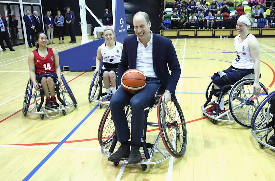 The Duke of Cambridge joined in on wheelchair basketball at the SportsAid event [Chris Jackson/ PA]