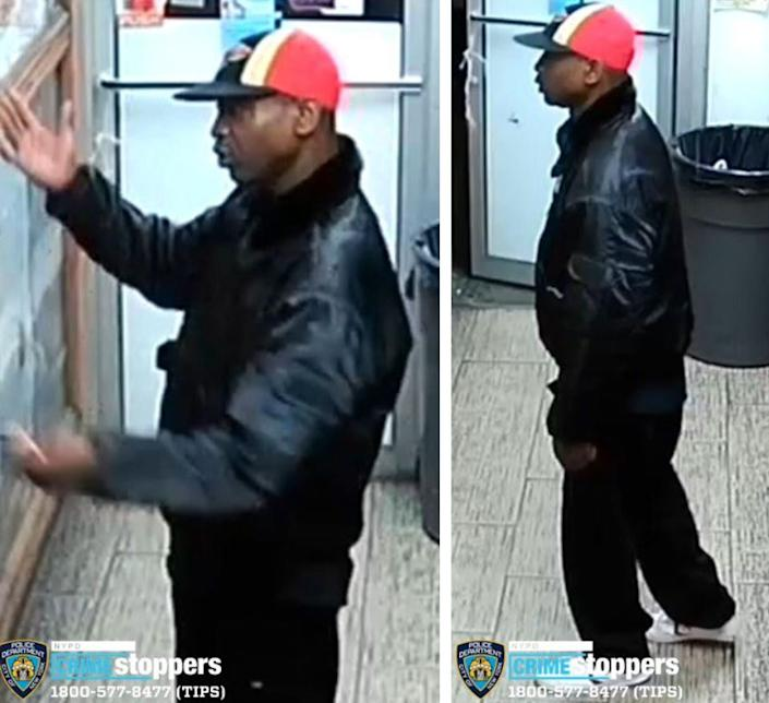A man suspected of assaulting an Asian man in New York City's Harlem o­n Friday is seen in surveillance footage released by the NYPD. (Photo: NYPD)