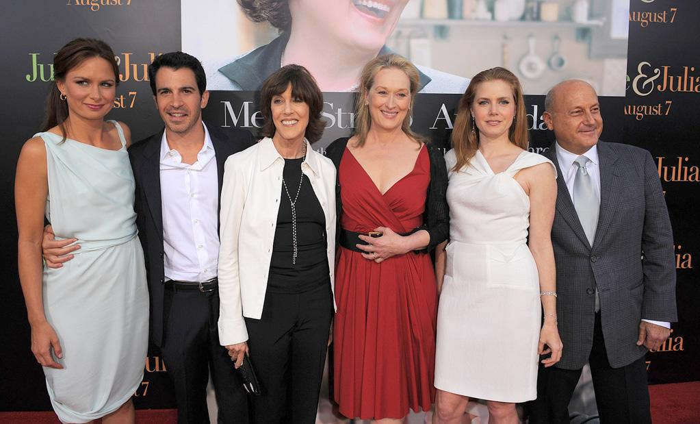 "<a href=""http://movies.yahoo.com/movie/contributor/1804501768"">Mary Lynn Rajskub</a>, <a href=""http://movies.yahoo.com/movie/contributor/1807530929"">Chris Messina</a>, <a href=""http://movies.yahoo.com/movie/contributor/1800022174"">Nora Ephron</a>, <a href=""http://movies.yahoo.com/movie/contributor/1800018835"">Meryl Streep</a>, <a href=""http://movies.yahoo.com/movie/contributor/1800018895"">Amy Adams</a> and producer <a href=""http://movies.yahoo.com/movie/contributor/1800020303"">Laurence Mark</a> at the Los Angeles premiere of <a href=""http://movies.yahoo.com/movie/1810006886/info"">Julie & Julia</a> - 07/27/2009"