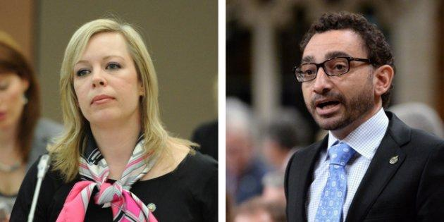 Senator Denise Batters (left) said a CBC Power and Politics host should have spoken with MP Omar Alghabra about his birthplace.
