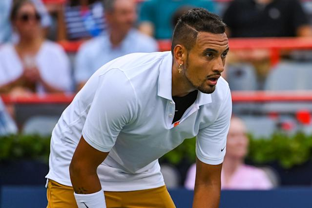 Nick Kyrgios used the guise of a bathroom break to smash 2 rackets before returning to the court to berate a chair umpire. (Getty)