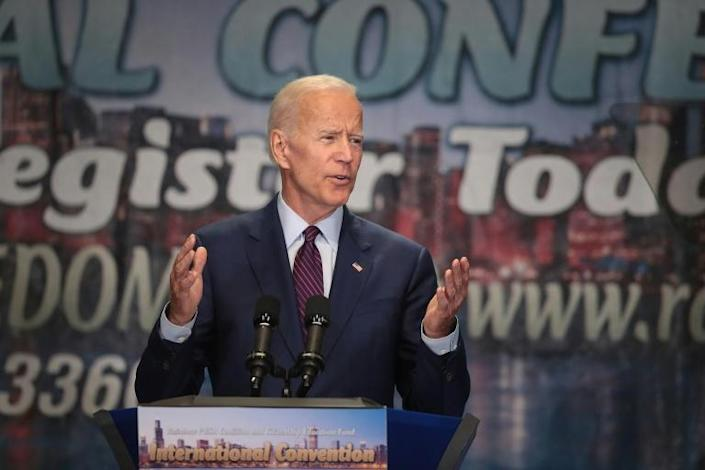 Former US vice president Joe Biden, seen here addressing a mainly black group in Chicago, sought to defend his position on school busing after criticism at the first Democratic debate (AFP Photo/SCOTT OLSON)