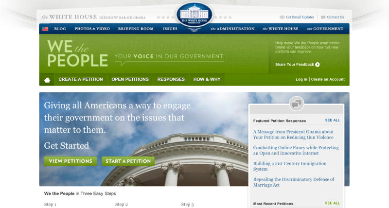 In this image from the whitehouse.gov website, the opening page from the site where the public can petition the White House on an issue. No, the U.S. will not be building a Death Star. And no, President Barack Obama will not deport CNN's Piers Morgan or let Texas secede. These are just a few of the wacky notions the White House has been compelled to formally address in recent weeks, part of an effort to put open government into action: the First Amendment right to petition your government, supercharged for the Internet age.  (AP Photo/The White House)