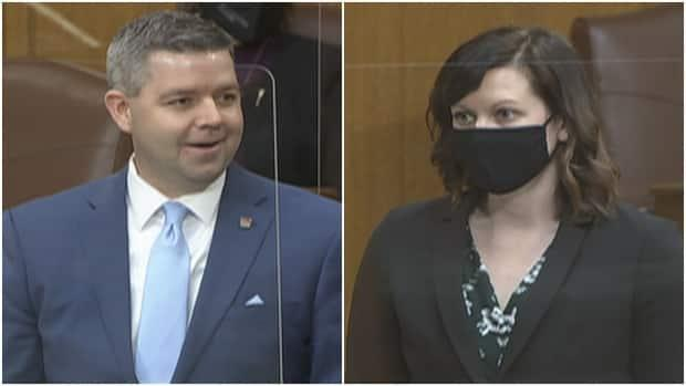 Government House Leader Jeremy Harrison (left) and Opposition House Leader Vicki Mowat differed on whether speakers inside the chamber should be masked. Harrison said the policy follows public health guidance. (Saskatchewan Legislative Assembly - image credit)