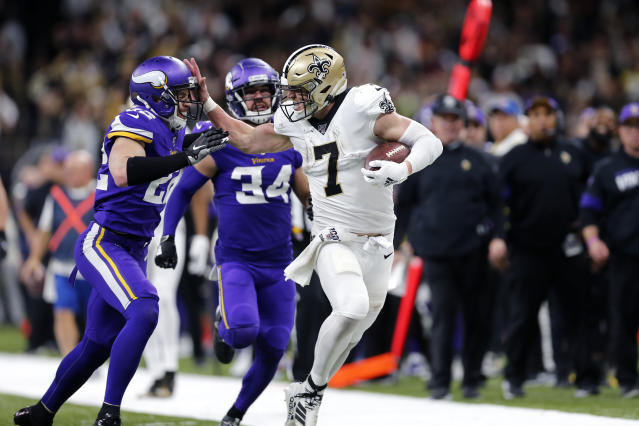 "<a class=""link rapid-noclick-resp"" href=""/nfl/players/30614/"" data-ylk=""slk:Taysom Hill"">Taysom Hill</a> and the New Orleans Saints will host the Minnesota Vikings on Christmas. (AP Photo/Brett Duke, archive)"