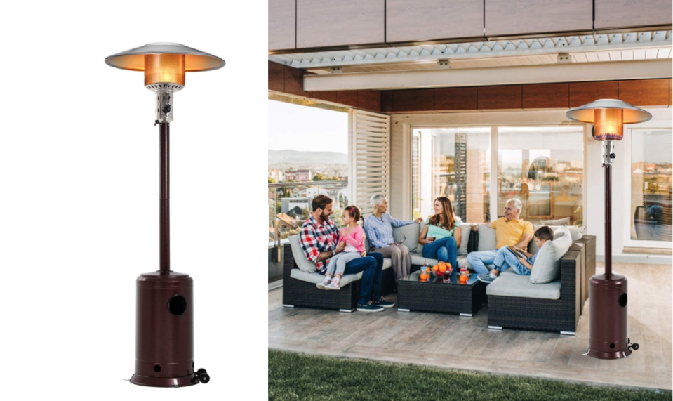 Patio Heater Tall Hammered Finish Garden Outdoor Heater Propane Standing.