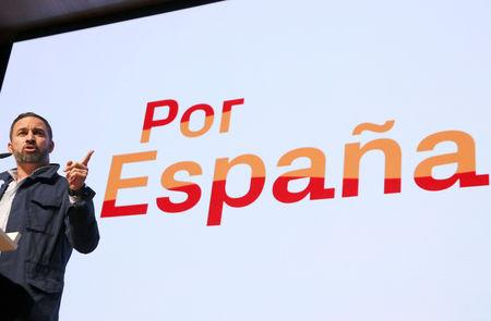 FILE PHOTO: Santiago Abascal, leader and presidential candidate of Spain's far-right party VOX, speaks at a rally in Toledo, Spain, April 11, 2019. REUTERS/Sergio Perez/File Photo