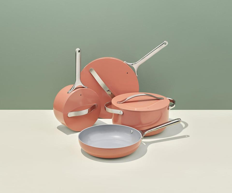 <p>The nonstick <span>Caraway Cookware Set</span> ($395, originally $495) is a great gift for someone moving into their first home or starting over in the kitchen. The nonstick set is ceramic coated and made with nontoxic, eco-friendly materials, and comes with a handy storage system that makes grabbing and storing each piece easy.</p>