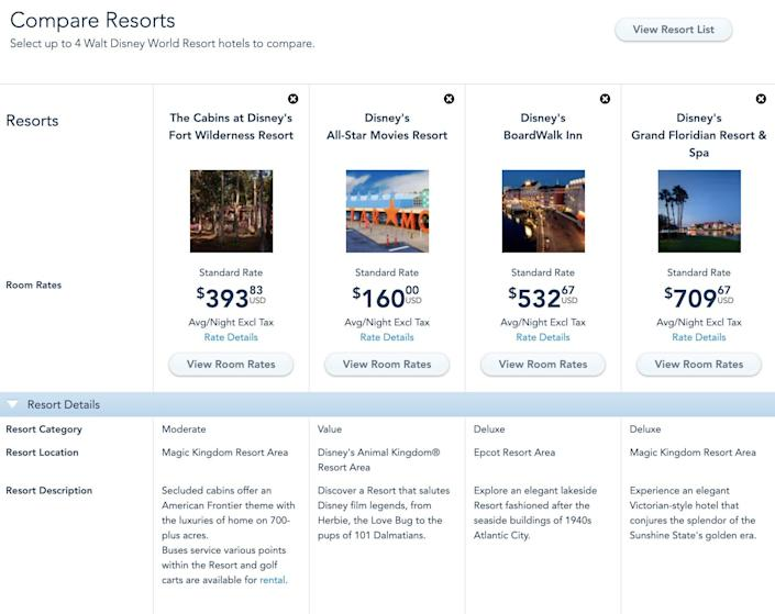 Disney World's room comparison feature on its website.