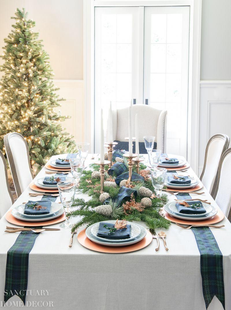 "<p>To give your red-and-green palette a rest, add some wintry blues to your Christmas feast.</p><p><em><a href=""https://sanctuaryhomedecor.com/an-easy-christmas-centerpiece-for-a-long-table/"" rel=""nofollow noopener"" target=""_blank"" data-ylk=""slk:Via Sanctuary Home Decor"" class=""link rapid-noclick-resp"">Via Sanctuary Home Decor</a> </em></p>"