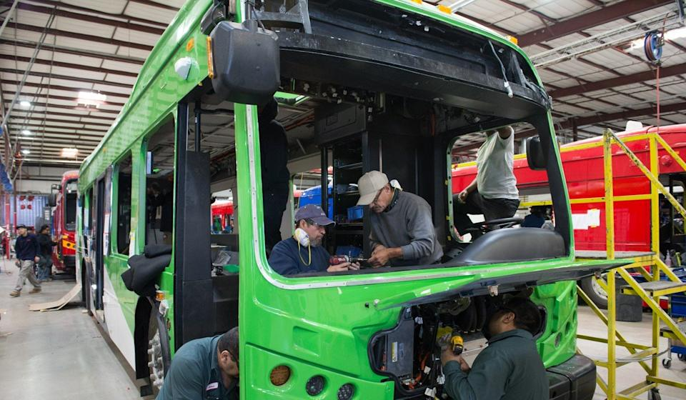 Workers assembling an electric bus at the BYD factory in Lancaster, California. Photo: Xinhua