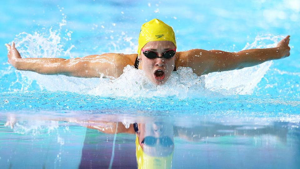 Seen here, Maddie Groves swims in the 200m butterfly final at the 2014 Glasgow Commonwealth Games.