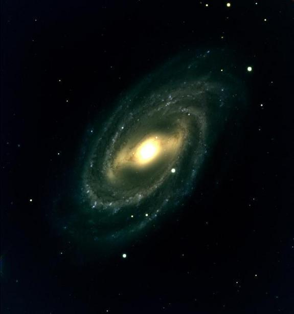 One of the first images captured by the Discovery Channel Telescope in Arizona shows the barred spiral galaxy M109. The privately funded observatory took its first photos in May 2012.