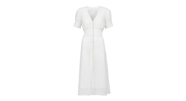 Broderie Button Through Midi Dress