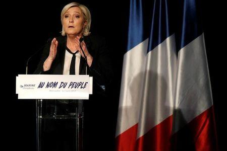 Marine Le Pen, French National Front political party leader and candidate for French 2017 presidential election, attends a political rally in Monswiller