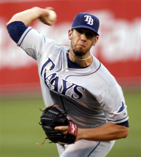Tampa Bay Rays pitcher James Shields throws to the Oakland Athletics in the first inning of a baseball game in Oakland, Calif., Tuesday, July 31, 2012. (AP Photo/Dino Vournas)