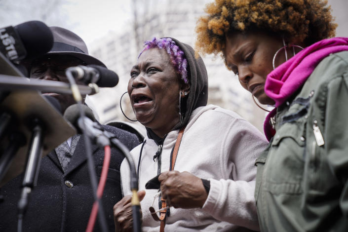 Angie Golson, grandmother of Daunte Wright, cries as she speaks during a news conference outside the Hennepin County Government Center, Tuesday, April 13, 2021, in Minneapolis. Daunte Wright, 20, was shot and killed by police Sunday after a traffic stop in Brooklyn Center, Minn. (AP Photo/John Minchillo)
