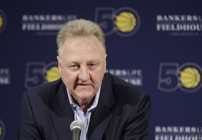 Larry Bird's been out as Pacers president of basketball operations since 2017. (AP Photo/Darron Cummings)