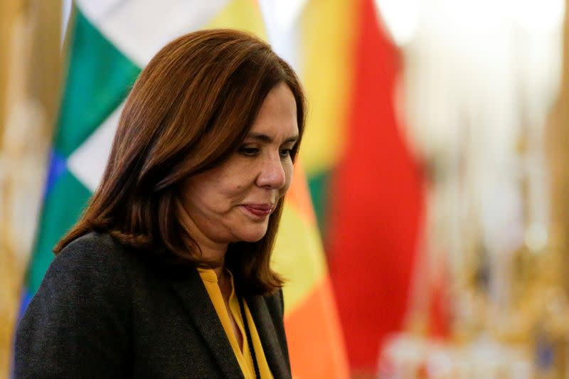 Bolivia's Foreign Minister Karen Longaric attends a news conference in La Paz