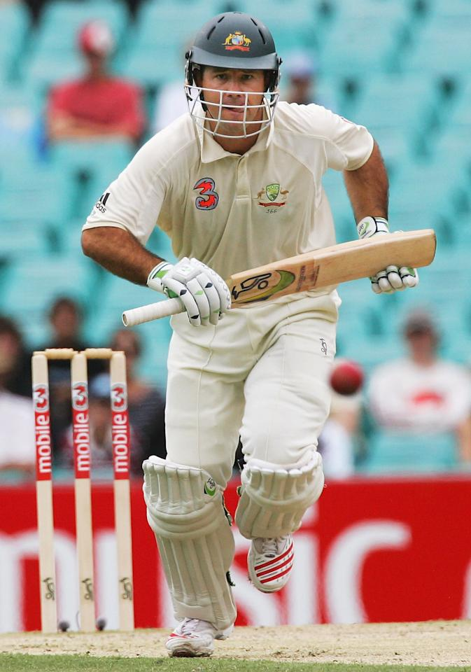 SYDNEY, NSW - JANUARY 04:  Ricky Ponting of Australia watches his off drive run away for four during day three of the Third Test between Australia and South Africa played at the SCG on January 4, 2006 in Sydney, Australia.  (Photo by Hamish Blair/Getty Images)
