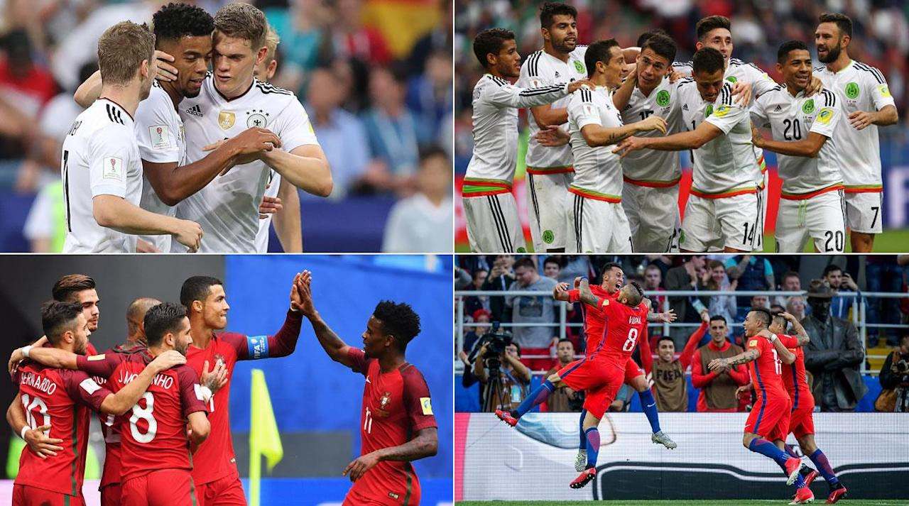 "<p>The Confederations Cup is down to its final four, with Germany, Chile, Portugal and Mexico advancing the semifinals, as was widely expected.</p><p>The paths might not have been without hiccups (especially for Video Assistant Referees!), but a rather drab group stage in Russia's World Cup tune-up has given way to a pair of scintillating semifinals that will produce a final worth watching. </p><p>As has been documented, <a rel=""nofollow"" href=""https://www.si.com/planet-futbol/2017/06/15/confederations-world-cup-curse-fifa"">winning the Confederations Cup hasn't exactly proven to be a good omen</a> for the following World Cup, but that won't stop the four contenders from trying to complete their mission. </p><p>Each of the four entered this competition with something to prove, and they'll be keen on seeing that out. For Germany, it was about seeing if its second tier was full of tournament-winning talent. For Portugal and Chile, it was about proving that its recent titles on the regional front aren't the ceiling. For Mexico, it was about proving it belongs in the conversation with the best teams in the world.</p><p>With the group procession complete and the knockout stage set to begin, here's what we're left taking away from the 2017 FIFA Confederations Cup: </p><p><strong>Three things we learned in the group stage</strong></p><p><strong>Germany's reinforcements are on the way</strong></p><p>Jogi Low took an untested, experimental squad to Russia with the sole purpose of uncovering more first-choice options. Germany has seen the likes of Phillip Lahm, Miroslav Klose, Bastian Schweinsteiger, Per Mertesacker and Lukas Podolski move on from the international game, while Mario Gotze has endured uneven club play and health problems ever since his World Cup-winning goal in extra time vs. Argentina. That's more than 25% of the 2014 World Cup-winning squad, and while the international retirements were expected and are typically part of a national team's cycle–especially one that's just won the World Cup–it leaves gaps to fill.</p><p>As a result, Low is seeing who he can turn to in a tournament setting. Forwards Timo Werner and Lars Stindl look the part, while Joshua Kimmich is poised to take on a larger role. Emre Can and Leon Goretzka have shown they belong in Die Mannschaft's midfield. Bernd Leno hasn't exactly proven he's a top-tier international goalkeeper, and Marc-Andre ter Stegen can likely feel secure as the backup to Manuel Neuer.</p><p>Germany might not be the odds-on favorite in Russia next summer, but it'll have a squad–at least on paper–that is capable of repeating.</p><p><strong>Russia may host, but it won't be a contender</strong></p><p>World Cup hosts have traditionally fared well, with even the underdog hosts using the home advantage as a launchpad to reach the knockout stage. No host has won the competition since France in 1998, but home soil has typically been a fertile ground. That said, Russia has some gaps to close to ensure it doesn't bow out in the group stage.</p><p>Of course, all is at the mercy of the draw and Russia is seeded, as the tournament host. So falling into a ""Group of Life"" is always a possibility. But a group along the likes of the one Russia failed to get out of–Portugal, Mexico, New Zealand–isn't all that unassailable, and Russia might not get anything more advantageous come December's draw. On one hand, the Russians played hard in their three games and were dealing with some key injuries. On the other, they wound up capitulating against the two teams that were always going to be the most difficult to beat. Without ample improvement in a non-competitive setting between now and next summer, it's going to be a three-and-out for the 2018 World Cup host. </p><p><strong>VAR is a scrutinized work in progress</strong></p><p>The Confederations Cup has been used as the most high-profile testing ground yet for full-on reliance on VAR, and it's been a mixed bag. Getting calls right is the ultimate goal, and while the disruption to the game might be upsetting some players, coaches, fans, pundits and your social media echo chamber, that's the future that's going to have to be accepted. The disruptions haven't been that bad, either ... except for <a rel=""nofollow"" href=""https://www.si.com/planet-futbol/2017/06/21/mexico-new-zealand-confederations-cup-osorio-var-aquino-jimenez-peralta"">the nonsense at the end of Mexico-New Zealand</a>, which, in stoppage time, paused the game for four minutes for a referee to single out three players for yellow cards all while New Zealand was setting up for a potential game-tying free kick. Perhaps let's not entirely strip referees and their assistants of their duties? Working out the kinks is all part of the process, but you can be certain the scrutiny will grow exponentially should a World Cup match pivot on a controversial review.</p><p><strong>Three things to watch in the semifinals</strong></p><p><strong>The Ronaldo trophy quest continues</strong></p><p>It's been a trophy-laden year (and counting) for Cristiano Ronaldo: 2015-16 Champions League. Euro 2016. UEFA SuperCup. FIFA Club World Cup. La Liga. 2016-17 Champions League. 2015-16 UEFA's Best Player in Europe. 2016 Ballon d'Or. 2016 FIFA's The Best.</p><p>The only trophy of significance that Ronaldo has been eligible for and didn't win in that time was the Copa del Rey. So what do you get for the man obsessed with trophies? Another trophy, of course. A prolific run of titles such as this is unheard of and something all Cristiano lovers (and haters) will have their eye on before the competition ends and his <a rel=""nofollow"" href=""https://www.si.com/planet-futbol/2017/06/16/cristiano-ronaldo-leave-real-madrid-manchester-united-psg-spain"">headlines revert back to his sudden Real Madrid saga</a>.</p><p>Ronaldo is also in the hunt for the Golden Boot, tied with Stindl and Werner atop the standings with a pair of group goals. </p><p><strong>Mexico on the knockout stage</strong></p><p>This is the stage all El Tri fans have been pointing to since the competition began. Fail to get out of the group, and the (sometimes overly harsh) critics of Juan Carlos Osorio would have endless fodder to demand change despite a clear path to World Cup qualification. </p><p>Mexico has had a dearth of success in knockout games outside of CONCACAF, and here it faces a chance to change the trend and get a taste of success that it can keep in the back of the mind and draw on for the future. Factor in that it's Germany (no matter if it's a glorified B team), and that's all the motivation Mexico should need to bring its best. Mexico has only beaten Germany once in 10 tries, in a minor 1985 competition, so a new frontier is beckoning.</p><p>Osorio is dealing with a number of injuries and a suspension to Andres Guardado, but this is a deep team, and as Osorio showed in the group stage, he has no problem looking all the way down his roster for contributors. </p><p><strong>Every possible final will be intriguing</strong></p><p><em>Germany vs. Chile</em> was arguably the game of the group stage, and a final rematch is Chile's ideal scenario. It showed what it can do against Mexico last summer. Now, with two continental trophies in hand, winning an international one against a European power would be as big of a statement of intent it can muster, especially after going through Ronaldo to get there. </p><p><em>Mexico vs. Portugal</em> would provide a rematch of the other contender for game of the tournament, after El Tri twice came back from a goal down and earned a draw on Hector Moreno's last-gasp header.</p><p><em>Germany vs. Portugal</em> would pit two European giants against one another and give the Germans a crack at Ronaldo & Co.–a test they were denied after falling in the Euro 2016 semifinals to France.</p><p><em>Mexico vs. Chile</em> is the granddaddy of them all, at least in this hemisphere. No matter how successful Mexico has been in the CONCACAF region, the 7-0 embarrassment and ouster at the hands of Chile at Copa America Centenario still stings. A repeat could do permanent psychological damage for Mexico, but redemption could set El Tri's demons free and set the foundation for a run that finally gets beyond the World Cup round of 16.</p><p>The Confederations Cup might not be everyone's favorite tournament, and its expiration date could be nearing as changes are made to the international game, but this edition's knockout stage will be the crown jewel of the ""off summer"" in the international calendar.</p>"